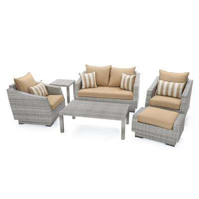 Cannes 6-Piece All-Weather Wicker Patio Love and Club Seating Set with Maxim Beige Cushions