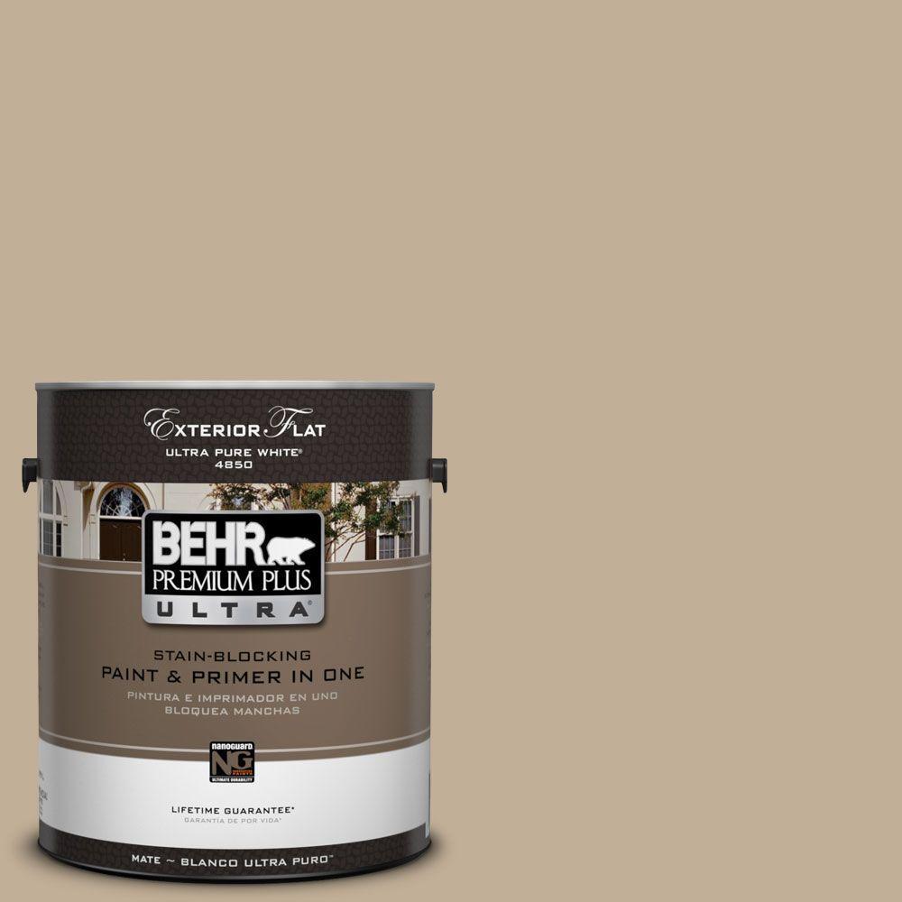 BEHR Premium Plus Ultra 1-Gal. #UL170-17 Vast Desert Flat Exterior Paint