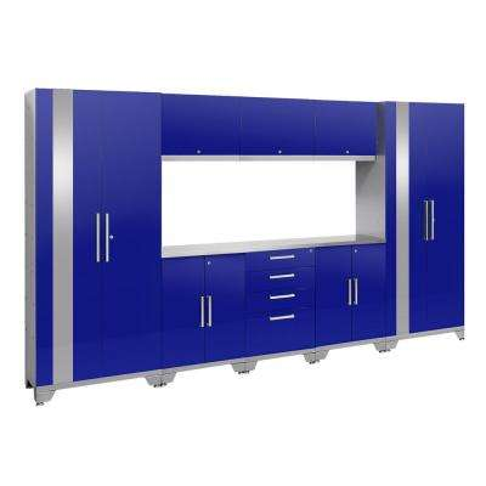 Performance 2.0 72 in. H x 132 in. W x 18 in. D Garage Cabinet Set in Blue (9-Piece)