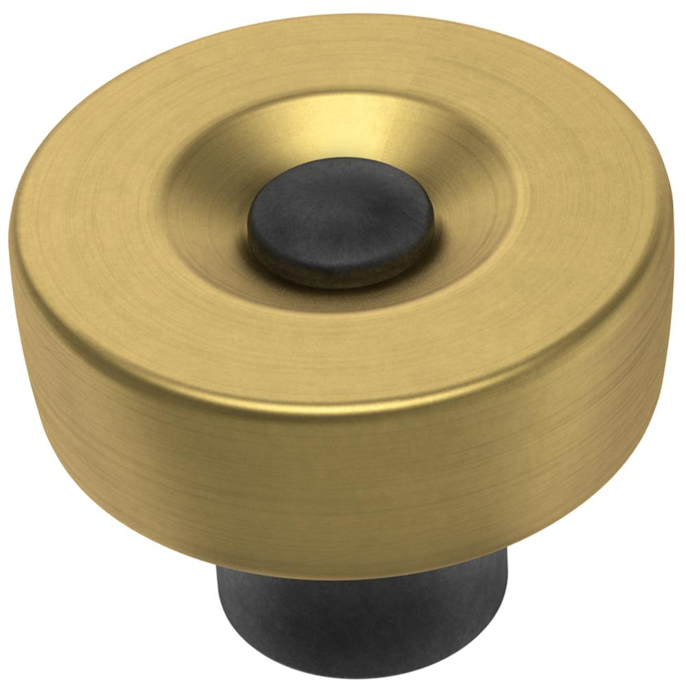 Liberty Riveted 1-1/4 in. (32 mm) Brushed Brass with Soft Iron Cabinet Knob