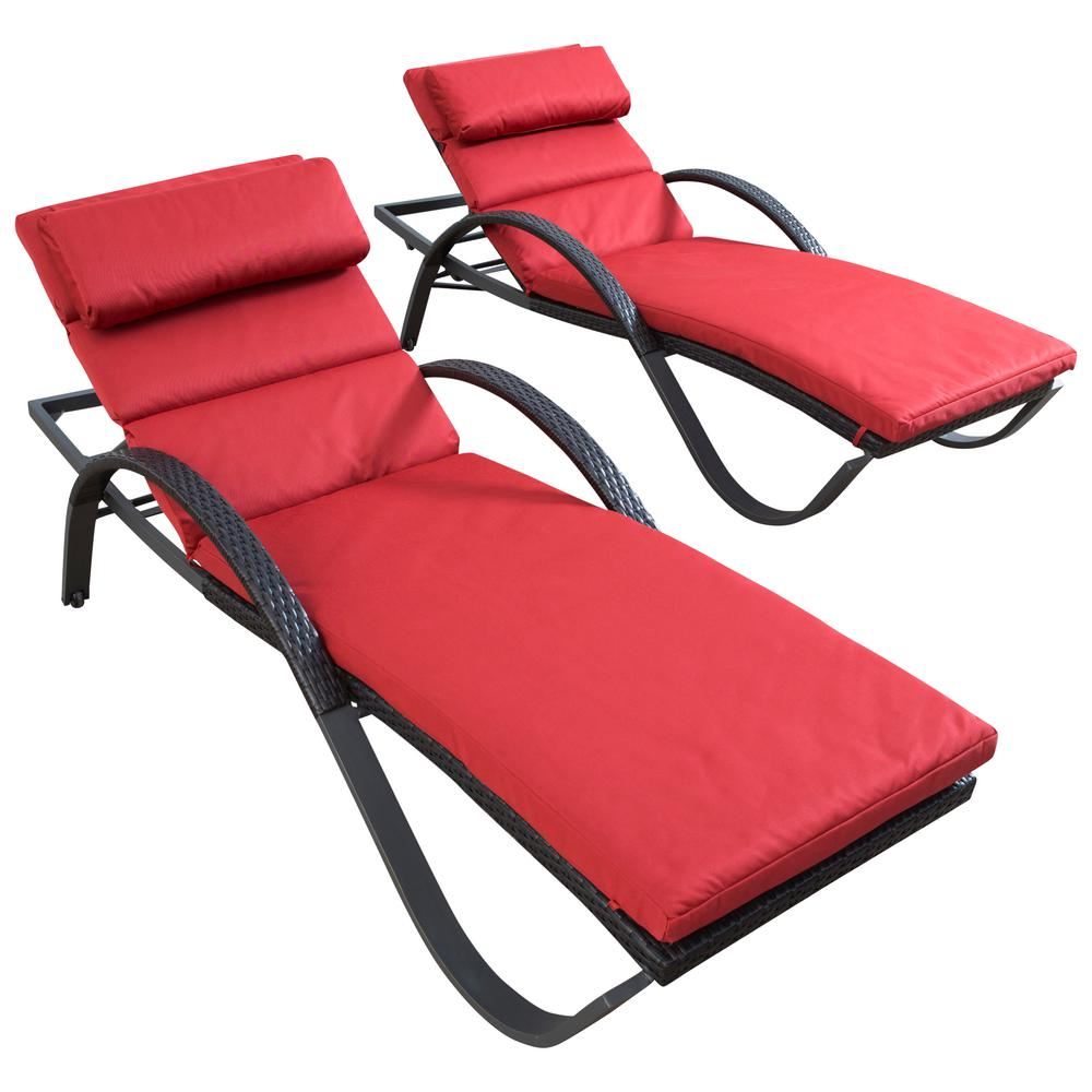 rst brands deco patio chaise lounge with cantina red cushion 2 pack - Chaise Deco