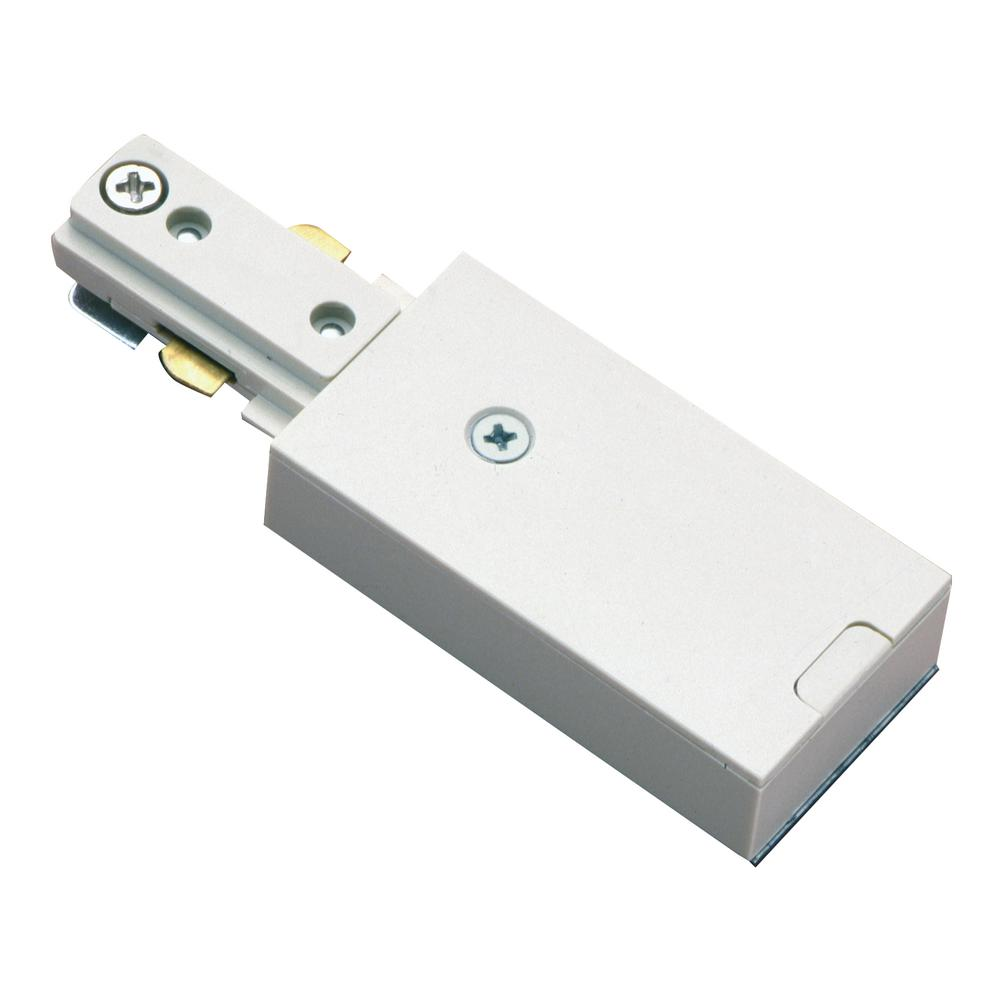 White Live End Single Circuit Track Lighting Connector