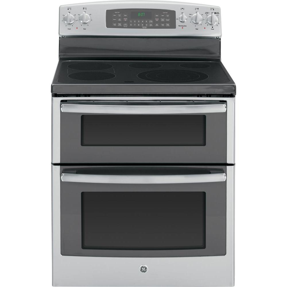 GE 6.6 cu. ft. Double Oven Electric Range with Self-Cleaning Oven and Convection Lower Oven in Stainless Steel