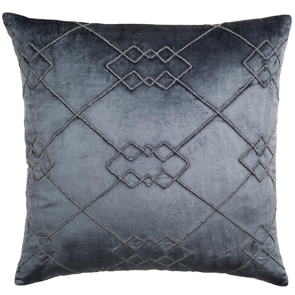 Lucius Dream Blue Geometric Down Alternative 20 in. x 20 in. Throw Pillow
