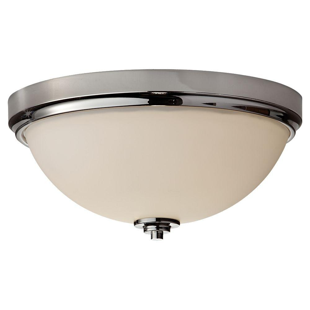 Feiss Malibu 13.1875 in. W 2-Light Polished Nickel Contemporary Indoor Flush Mount Ceiling Light with Opal Etched Glass Shade
