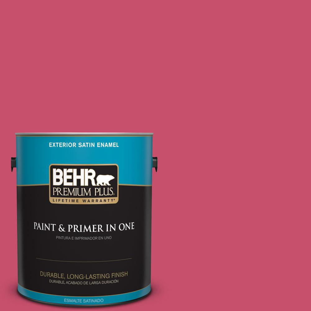 BEHR Premium Plus 1-gal. #120B-7 Tropical Smoothie Satin Enamel Exterior Paint