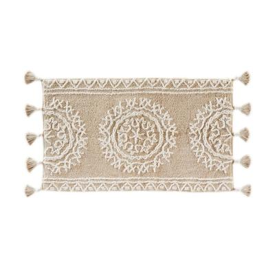 24 in. x 40 in. Natural Medallia Cotton Bath Rug