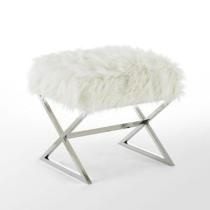 Amazing Inspired Home Elora White Chrome Upholstered X Leg Faux Fur Andrewgaddart Wooden Chair Designs For Living Room Andrewgaddartcom