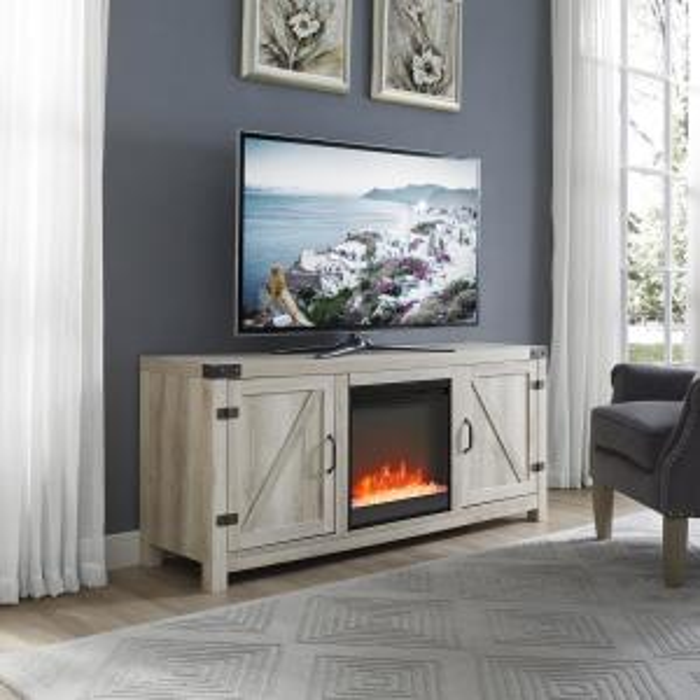 Walker Edison Furniture Company 58 In White Oak Barn Door Fireplace