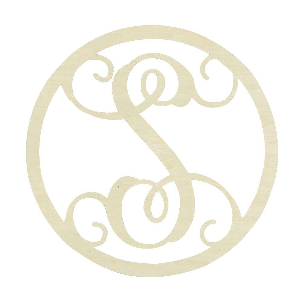 19 in. Unfinished Single Circle Monogram (S)