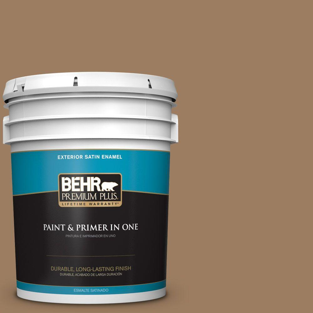 5-gal. #BXC-08 Safari Brown Satin Enamel Exterior Paint