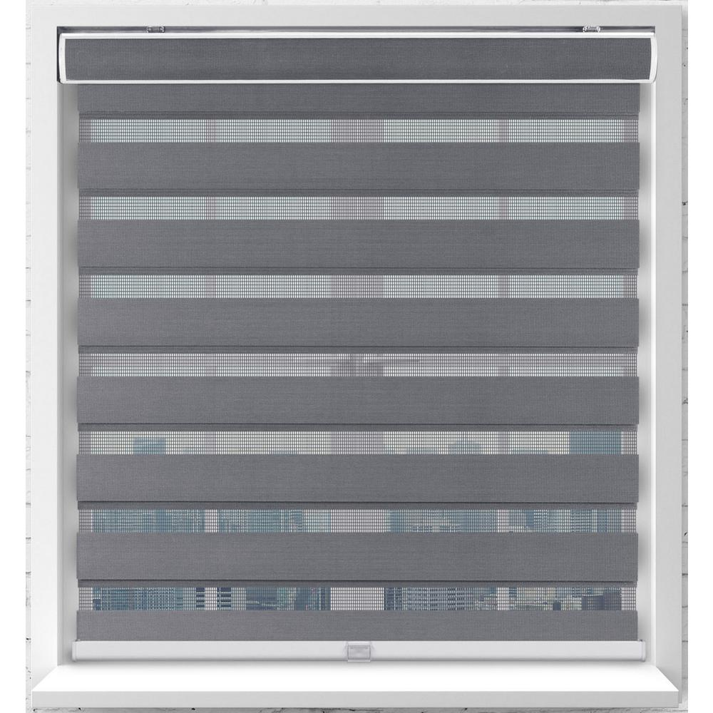 Arlo Blinds Gray Cordless Bottom Up Light Filtering Fabric Zebra Roller Shade 34 in. W x 72 in. L (Actual Size)