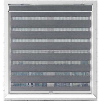 Gray Cordless Bottom Up Light Filtering Fabric Zebra Roller Shade 34 in. W x 72 in. L (Actual Size)