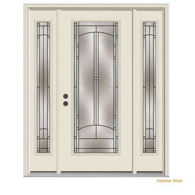 66 in. x 80 in. Full Lite Idlewild Primed Steel Prehung Right-Hand Inswing Front Door with Sidelites