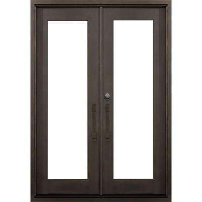 64 in. x 82 in. Marco Island Flat Top Dark Bronze Full Lite Painted Wrought Iron Prehung Front Door (Hardware Included)