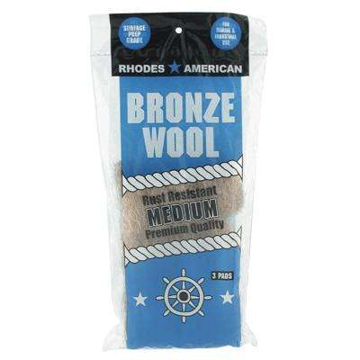 Medium-Grade Bronze Wool Pads (3-Pack)