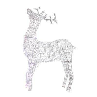 115 in. Christmas Commercial Size White Reindeer Lighted Outdoor Decoration