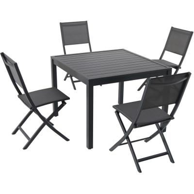 Naples 5-Piece Aluminum Outdoor Dining Set with 4-Sling Folding Chairs and a 38 in. Square Dining Table