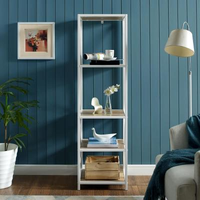 61 in. Rustic Oak/White Metal 4-shelf Etagere Bookcase with Open Back