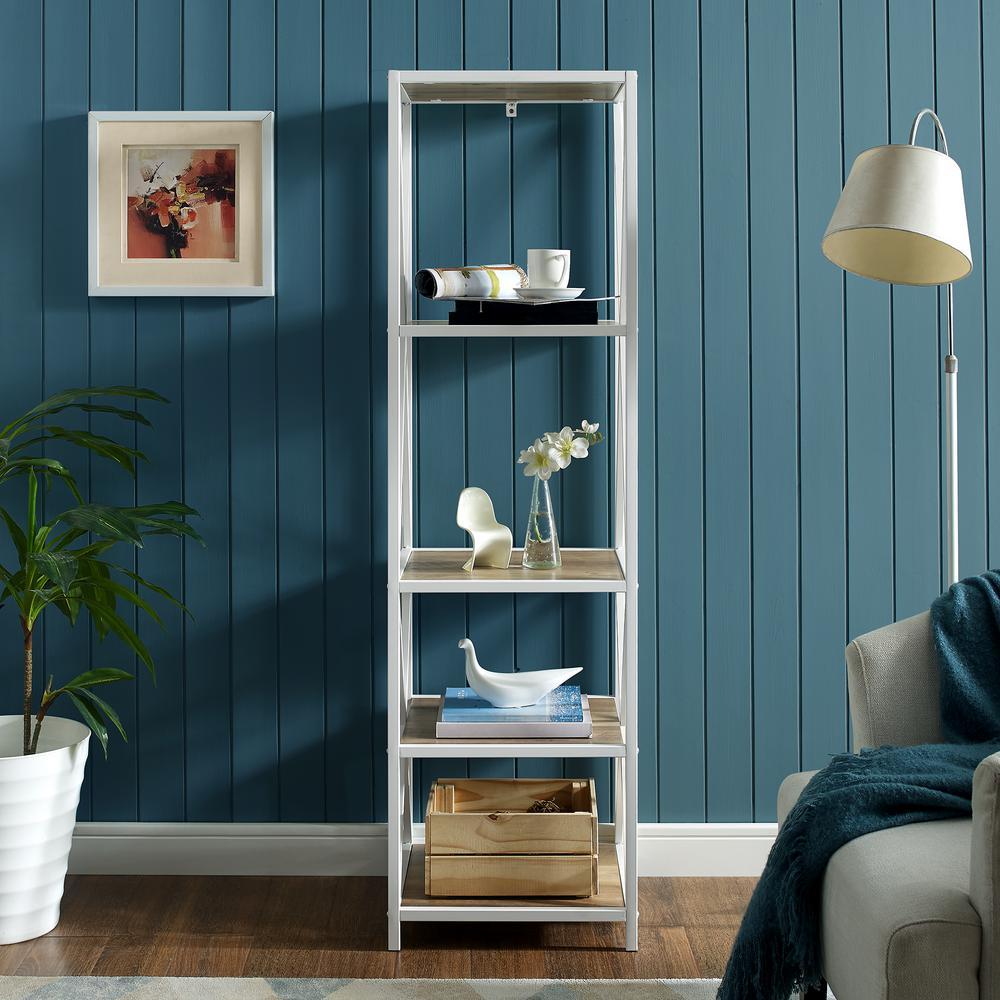 61 in. Rustic Oak - White Metal Modern Farmhouse Metal Wood Bookcase