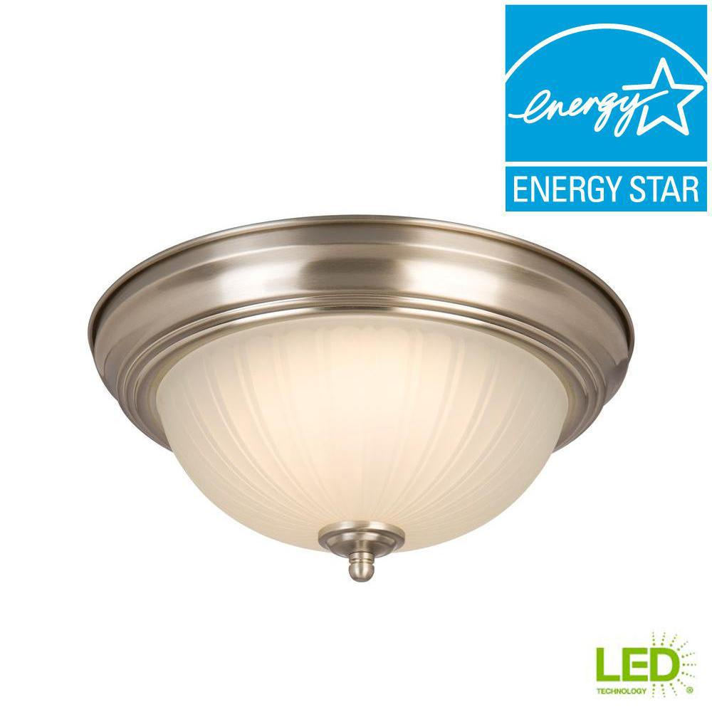sale retailer 9aa53 81ce9 Commercial Electric 11 in. 100-Watt Equivalent Brushed Nickel Integrated  LED Flush Mount with Frosted Glass Shade (2-Pack)