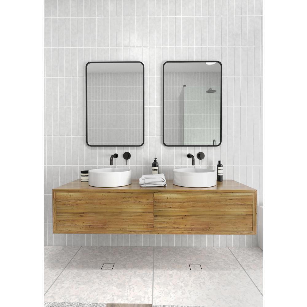 H Framed Square Bathroom Vanity Mirror, Black Mirrored Bathroom Cabinet