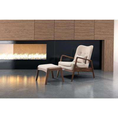 Bully Beige Leatherette Lounge Chair with 1 Ottoman