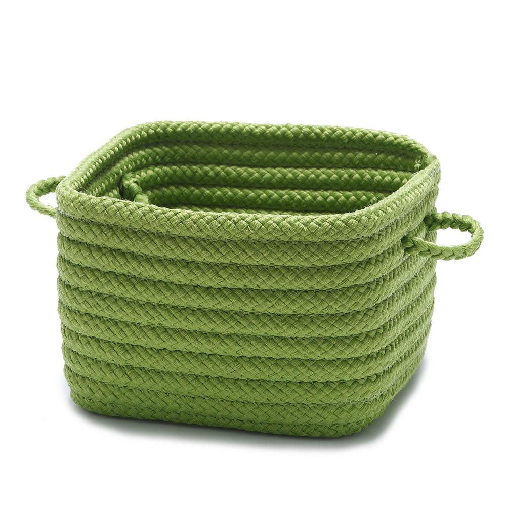 Solid Shelf Square Polypropylene Storage Basket Bright Green