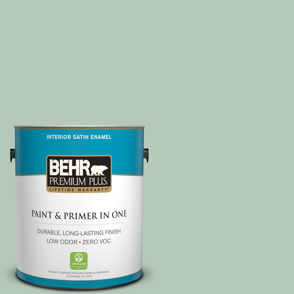 BEHR Premium Plus 1-gal. #S410-3 Pond's Edge Satin Enamel Interior Paint