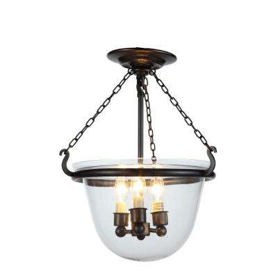 Seneca 3-Light Bronze Flushmount