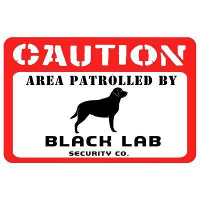 Printed Caution: Black Lab 17.5 in. x 26.5 in. Pet Mat