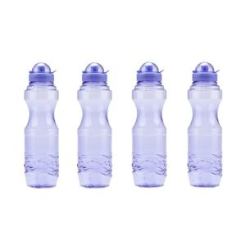 H80 34 oz. BPA Free Sports Water Bottle in Purple, 4-Piece Family Pack