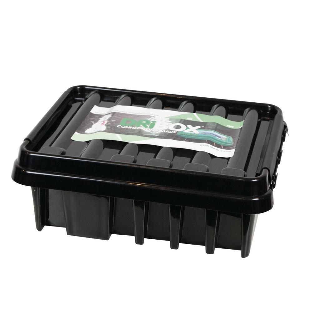 16 in. Weatherproof Powercord Connection Box, Black