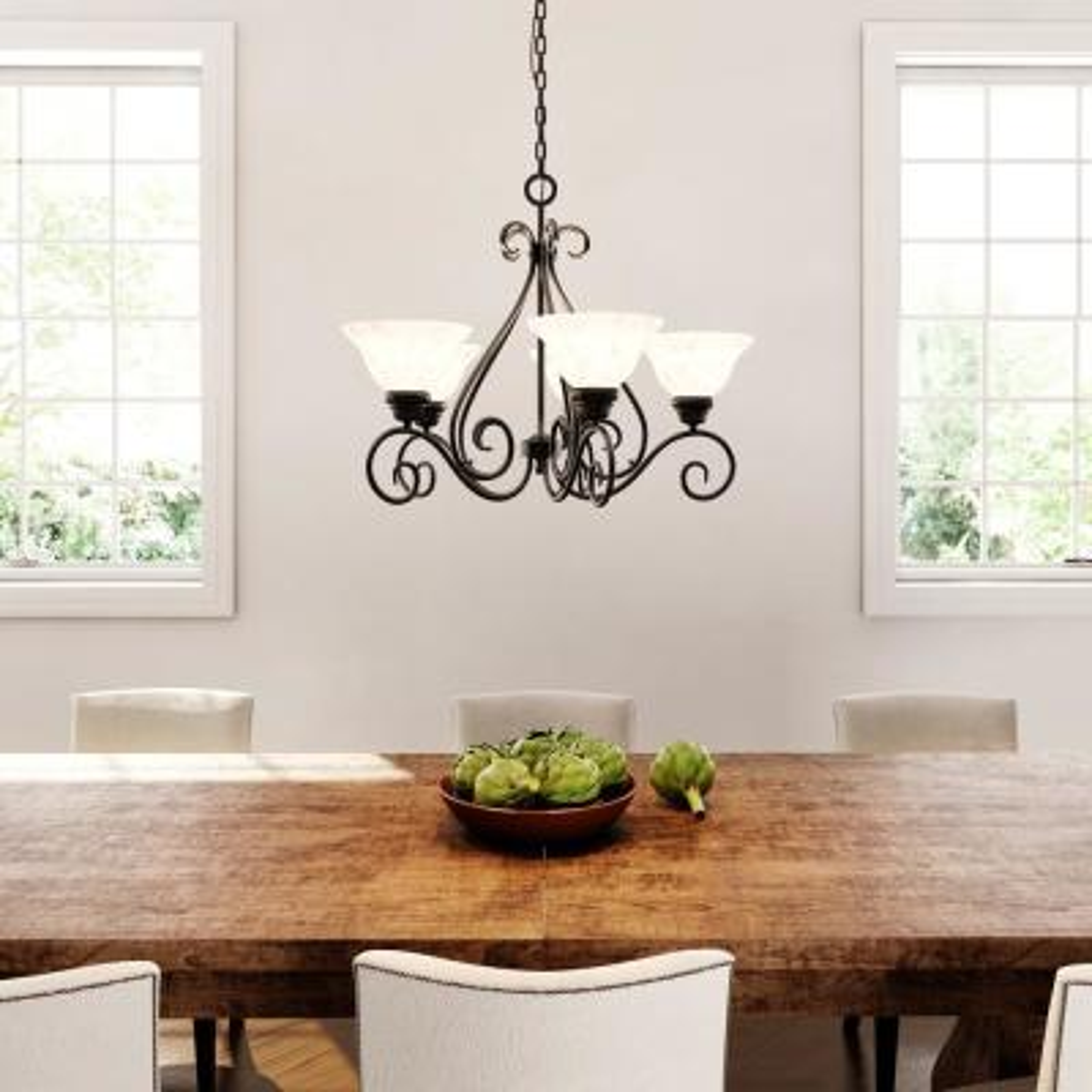 Adria 5-Light Textured Flat Black Chandelier with Alabaster Swirl Glass