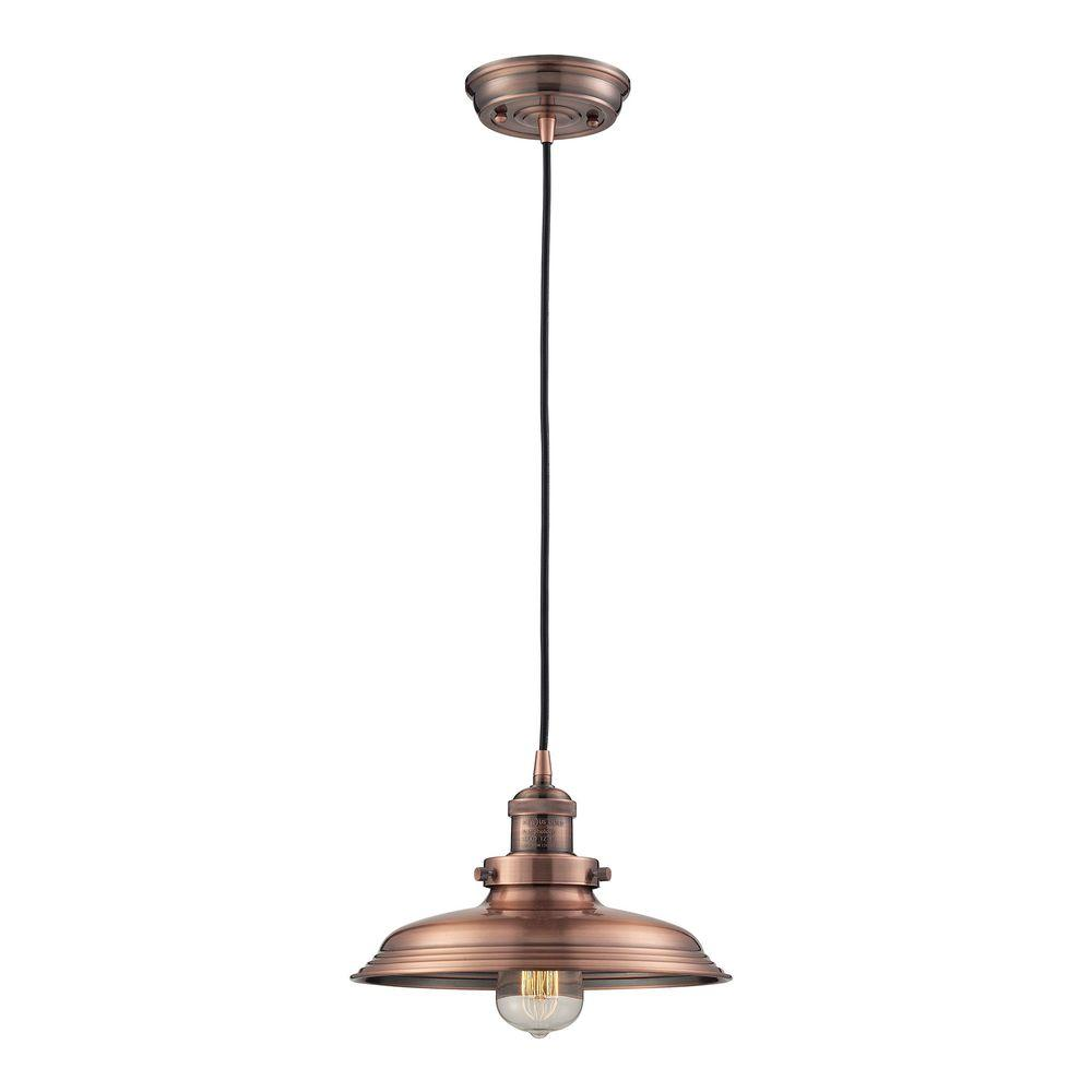 An Lighting 1 Light Antique Copper Mini Pendant With Vintage Bulb Included