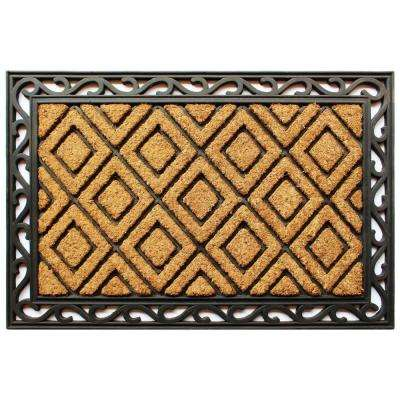 Scroll Diamond 24 in. x 36 in. Coir and Rubber Door Mat