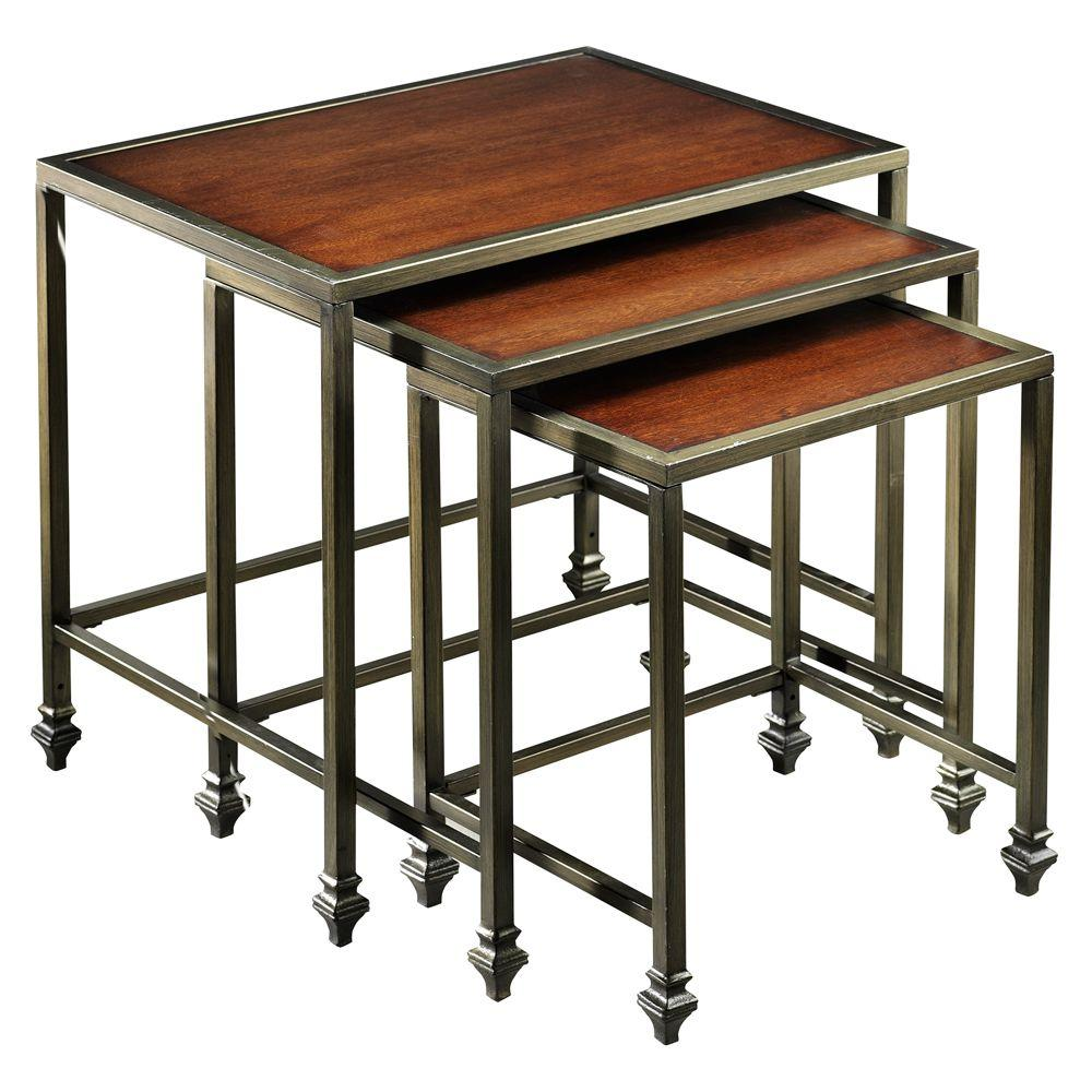 Home Decorators Collection Hazeltown Antique Metal and Cherry 24 in. W Nested Tables (3-Piece)