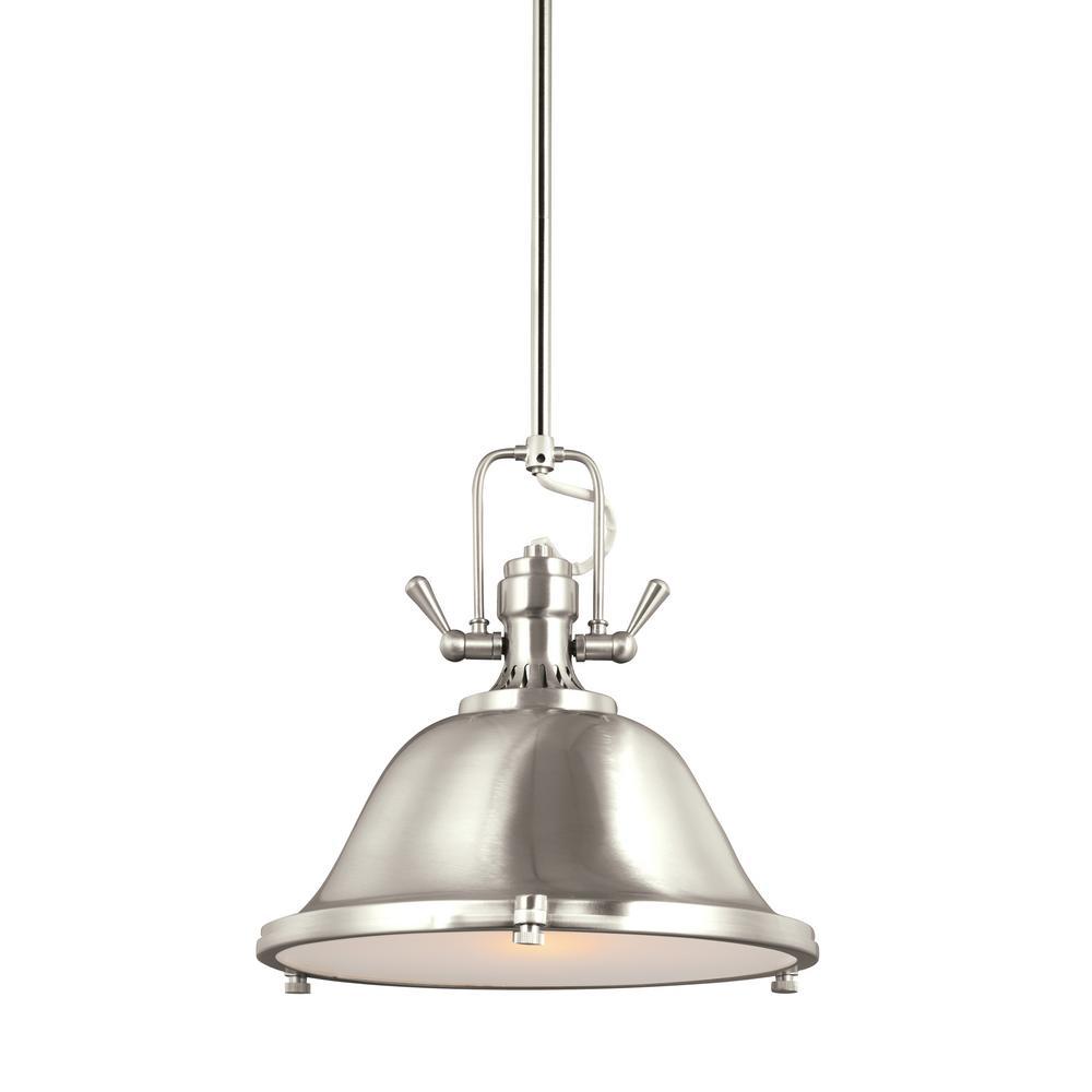 Stone Street 1-Light Brushed Nickel Pendant with LED Bulb