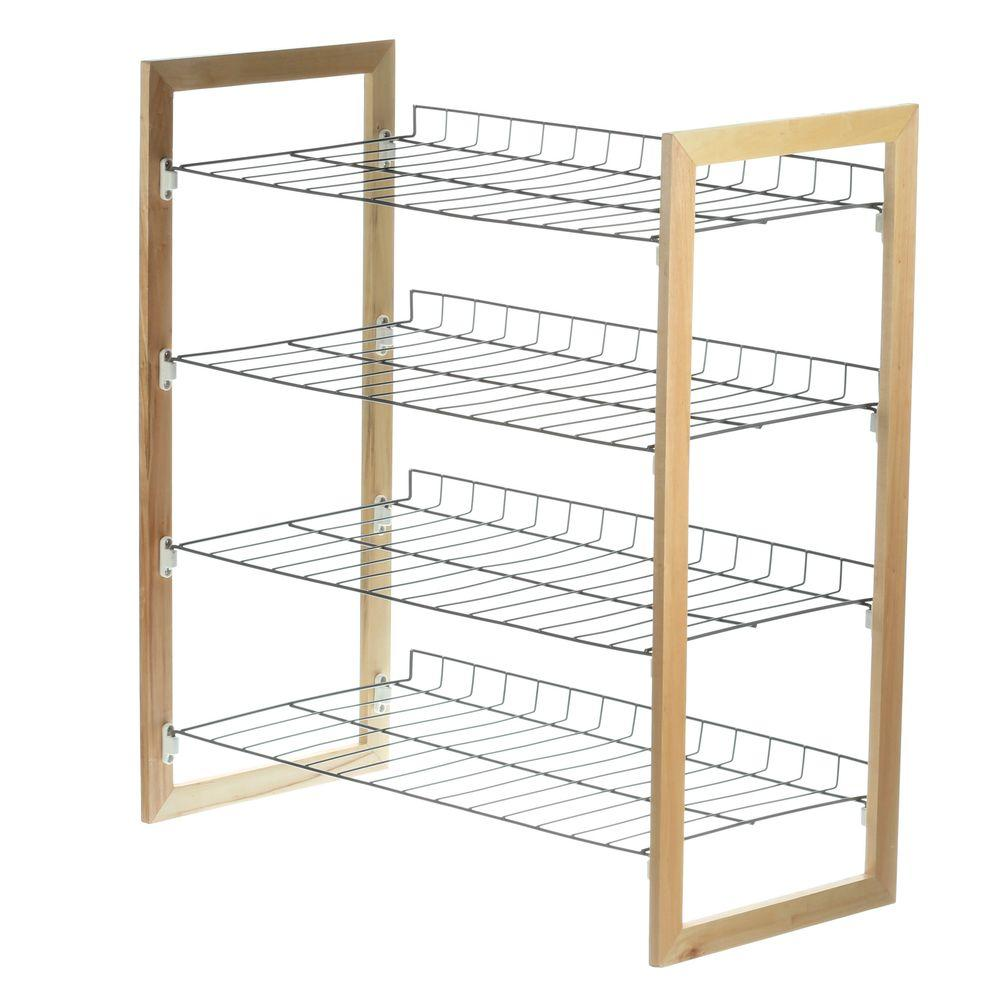 4-Tier 18-Pair Wood and Metal Accessory Rack