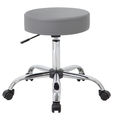 Grey Vinyl Cushion Steel Chrome Base Pneumatic Lift Task Stool