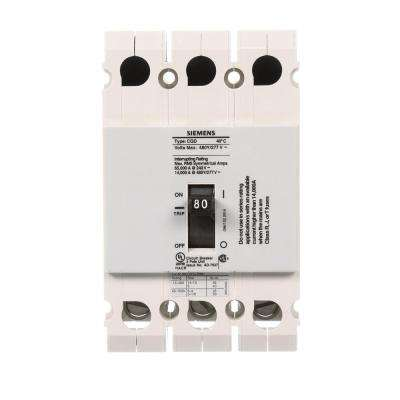 80 Amp Triple Pole Type CQD Cable In Cable Out DIN Rail Circuit Breaker