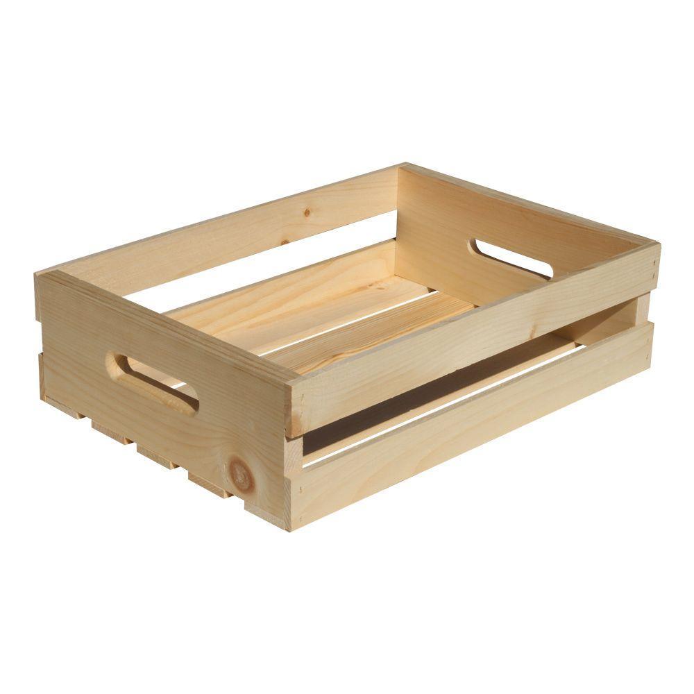 18 in. D x 4.75 H in. x 12.56 in. W Natural Pine Half Crate