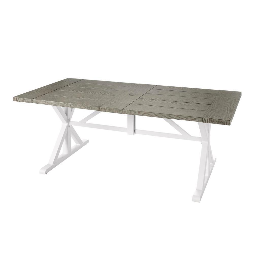 ef09bc3b2 Hampton Bay Beacon Park Gray Rectangular Farmhouse Steel Outdoor Dining  Table