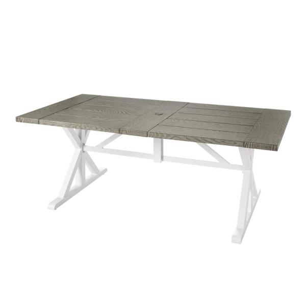 Beacon Park Gray Rectangular Farmhouse Steel Outdoor Patio Dining Table