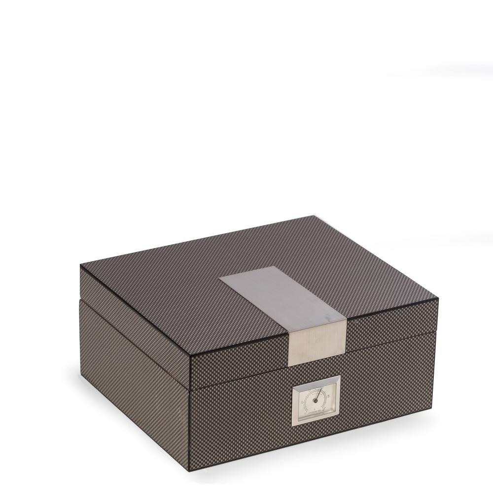 10.25 in. D x 4.5 in. H x 8.75 in. W Cedar Cigar Humidor in Gray