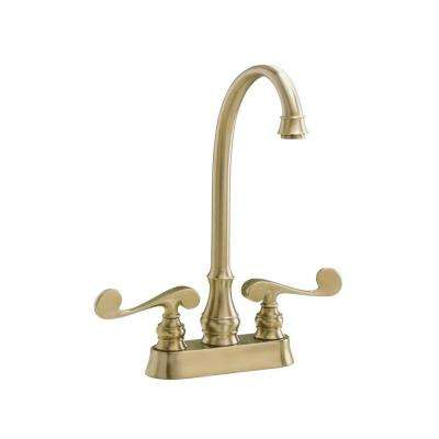 Revival 2-Handle Bar Faucet in Vibrant Brushed Bronze with Scroll Lever Handles