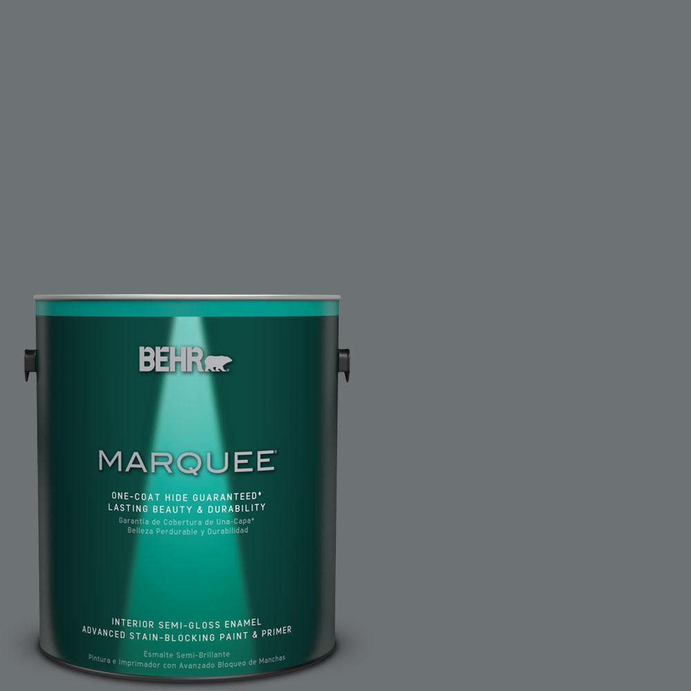 1 gal. #MQ5-28 Dawn Gray Semi-Gloss Enamel One-Coat Hide Interior Paint