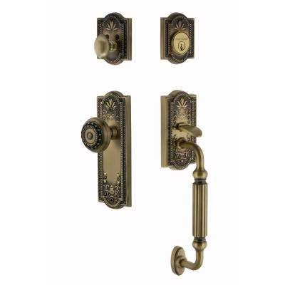 Meadows Plate 2-3/8 in. Backset Antique Brass F Grip Entry Set Meadows Knob