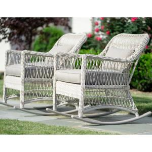Leisure Made Pearson Antique White Wicker Outdoor Rocking Chair With