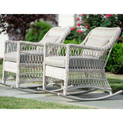 Pearson Antique White Wicker Outdoor Rocking Chair With Tan Cushions 2 Pack
